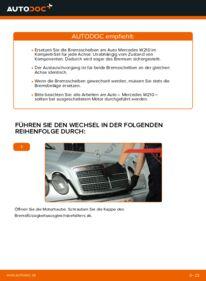 Wie der Wechsel durchführt wird: Bremsscheiben E 300 3.0 Turbo Diesel (210.025) Mercedes W210 tauschen