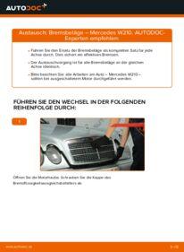 Wie der Wechsel durchführt wird: Bremsbeläge E 300 3.0 Turbo Diesel (210.025) Mercedes W210 tauschen