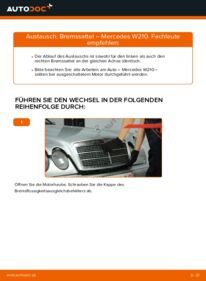 Wie der Wechsel durchführt wird: Bremssattel E 300 3.0 Turbo Diesel (210.025) Mercedes W210 tauschen