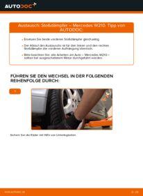 Wie der Wechsel durchführt wird: Stoßdämpfer E 300 3.0 Turbo Diesel (210.025) Mercedes W210 tauschen