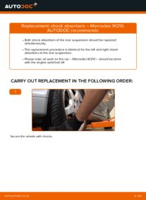 How to carry out replacement: Shock Absorber on E 300 3.0 Turbo Diesel (210.025) Mercedes W210