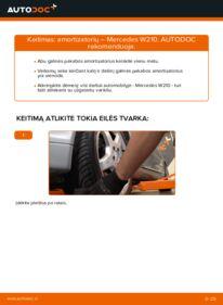 Kaip atlikti keitimą: E 300 3.0 Turbo Diesel (210.025) Mercedes W210 Amortizatorius