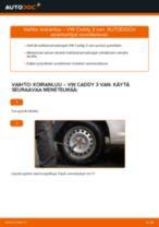 Kuinka vaihtaa ja säätää Kallistuksenvakaajan yhdystanko VW CADDY: pdf-opas