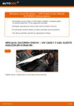 Kako zamenjati in prilagoditi Zavorni kolut VW CADDY: vodnik pdf