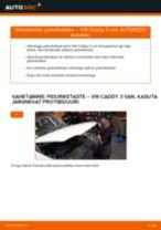 Paigaldus Piduriketas VW CADDY III Box (2KA, 2KH, 2CA, 2CH) - samm-sammuline käsiraamatute
