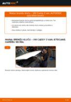 Kā nomainīt un noregulēt Bremžu uzlikas VW CADDY: pdf ceļvedis