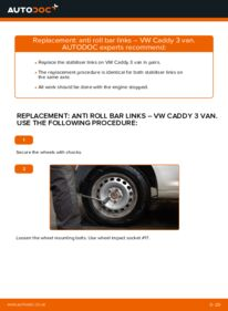 How to carry out replacement: Anti Roll Bar Links on 1.9 TDI VW Caddy 3 Van