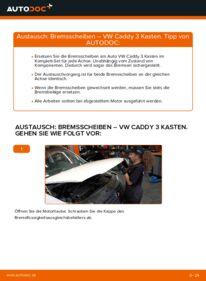 Wie der Wechsel durchführt wird: Bremsscheiben 1.9 TDI VW Caddy 3 kasten tauschen