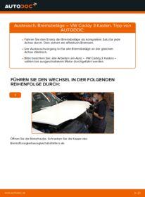Wie der Wechsel durchführt wird: Bremsbeläge 1.9 TDI VW Caddy 3 kasten tauschen