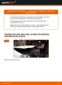 Wie der Wechsel durchführt wird: Domlager 1.9 TDI VW Caddy 3 kasten tauschen