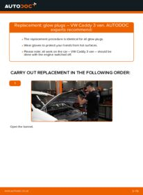 How to carry out replacement: Glow Plugs on 1.9 TDI VW Caddy 3 Van