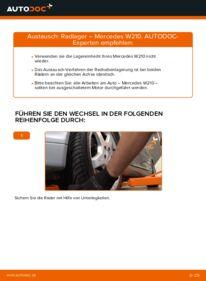 Wie der Wechsel durchführt wird: Radlager E 300 3.0 Turbo Diesel (210.025) Mercedes W210 tauschen