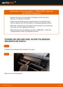 Wie der Wechsel durchführt wird: Innenraumfilter 320i 2.0 BMW E36 tauschen