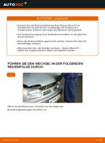 Wie der Wechsel durchführt wird: Bremsscheiben 1.0 i 16V Nissan Micra k11 tauschen