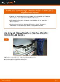 Wie der Wechsel durchführt wird: Bremsbeläge 1.0 i 16V Nissan Micra k11 tauschen