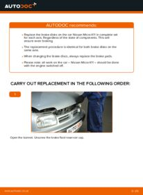 How to carry out replacement: Brake Discs on 1.0 i 16V Nissan Micra k11