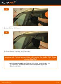 Wie der Wechsel durchführt wird: Scheibenwischer 2.2 CRDi 4x4 Hyundai Santa Fe cm tauschen