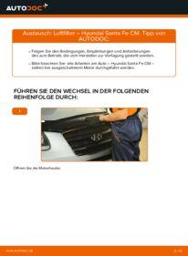 Wie der Wechsel durchführt wird: Luftfilter 2.2 CRDi 4x4 Hyundai Santa Fe cm tauschen