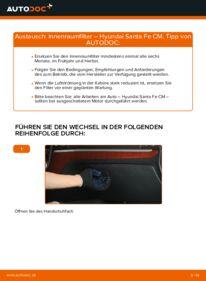 Wie der Wechsel durchführt wird: Innenraumfilter 2.2 CRDi 4x4 Hyundai Santa Fe cm tauschen