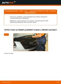Comment effectuer un remplacement de Filtre à Air sur 2.2 CRDi 4x4 Hyundai Santa Fe cm