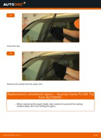How to carry out replacement: Wiper Blades on 2.2 CRDi 4x4 Hyundai Santa Fe cm