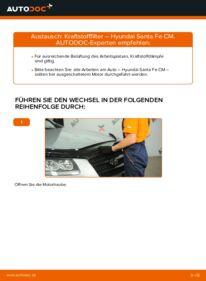 Wie der Wechsel durchführt wird: Kraftstofffilter 2.2 CRDi 4x4 Hyundai Santa Fe cm tauschen