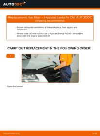 How to carry out replacement: Fuel Filter on 2.2 CRDi 4x4 Hyundai Santa Fe cm