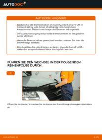 Wie der Wechsel durchführt wird: Bremsscheiben 2.2 CRDi 4x4 Hyundai Santa Fe cm tauschen