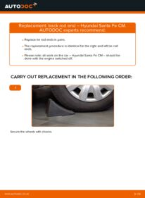 How to carry out replacement: Track Rod End on 2.2 CRDi 4x4 Hyundai Santa Fe cm