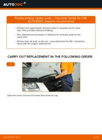 How to carry out replacement: Brake Pads on 2.2 CRDi 4x4 Hyundai Santa Fe cm