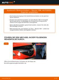 Wie der Wechsel durchführt wird: Bremsscheiben 1.6 Mazda 3 Limousine tauschen