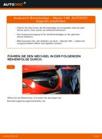 Wie der Wechsel durchführt wird: Bremsbeläge 1.6 Mazda 3 Limousine tauschen