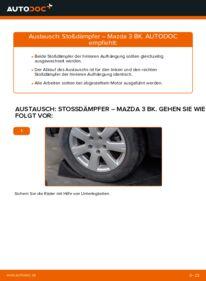 Wie der Wechsel durchführt wird: Stoßdämpfer 1.6 Mazda 3 Limousine tauschen