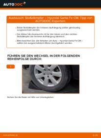 Wie der Wechsel durchführt wird: Stoßdämpfer 2.2 CRDi 4x4 Hyundai Santa Fe cm tauschen