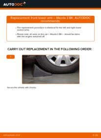 How to carry out replacement: Control Arm on 1.6 Mazda 3 Saloon