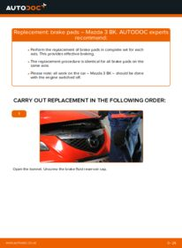 How to carry out replacement: Brake Pads on 1.6 Mazda 3 Saloon
