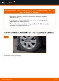 How to carry out replacement: Shock Absorber on 2.2 CRDi 4x4 Hyundai Santa Fe cm