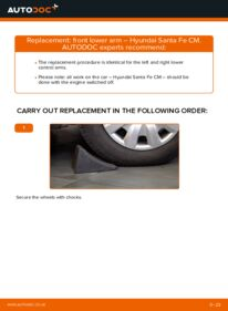 How to carry out replacement: Control Arm on 2.2 CRDi 4x4 Hyundai Santa Fe cm