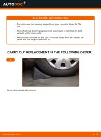 How to carry out replacement: Wheel Bearing on 2.2 CRDi 4x4 Hyundai Santa Fe cm