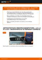 Αντικατάσταση Καθαριστήρα εμπρος και πίσω AUDI μόνοι σας - online εγχειρίδια pdf