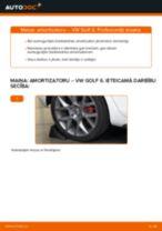 VW Golf 6: aizmugurē amortizatoru – nomaiņas rokasgrāmata