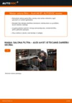 Audi A4 B7: salona filtra – nomaiņas rokasgrāmata