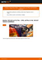 Opel Astra G F48: degvielas filtra – nomaiņas rokasgrāmata
