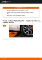 VW Golf 6: priekšpusē stabilizatora atsaites – nomaiņas rokasgrāmata