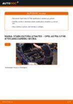 Opel Astra G F48: priekšpusē stabilizatora atsaites – nomaiņas rokasgrāmata