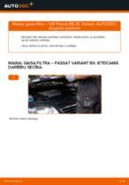 VW Passat 3C B6 Variant: gaisa filtrs – nomaiņas rokasgrāmata