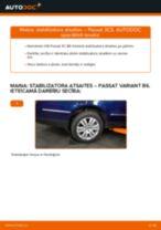 VW Passat 3C B6 Variant: aizmugurē stabilizatora atsaites – nomaiņas rokasgrāmata