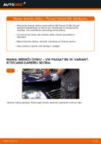 VW Passat 3C B6 Variant: priekšpusē bremžu diski – nomaiņas rokasgrāmata