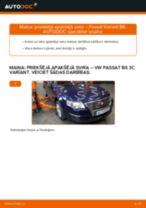 VW Passat 3C B6 Variant: priekšējā apakšējā svira – nomaiņas rokasgrāmata