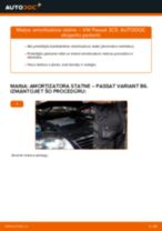 VW Passat 3C B6 Variant: priekšpusē amortizatora statne – nomaiņas rokasgrāmata